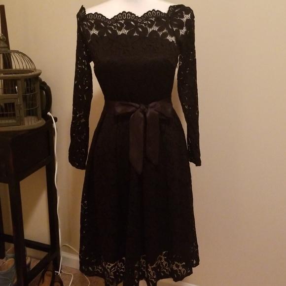 Off Shoulder Black Lace Dress Nwt